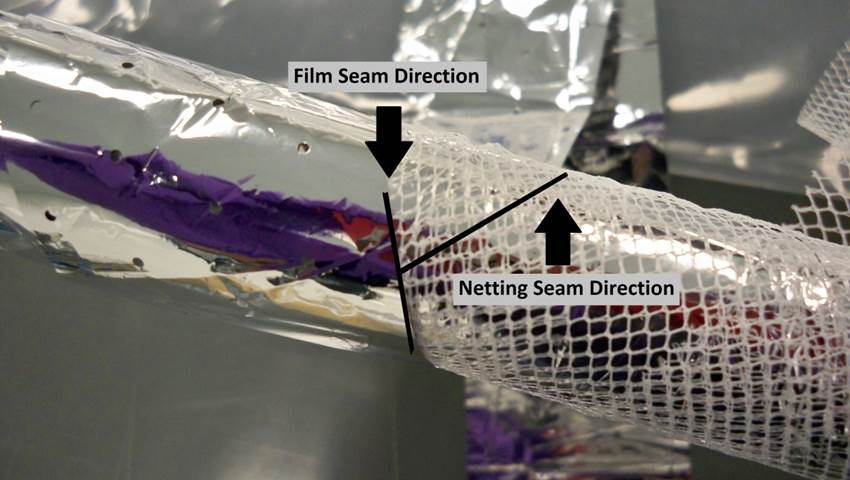 cryogenic cabling film seam and netting seam direction